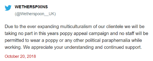 Wetherspoon Parody Poppy Appeal Tweet