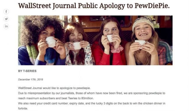 Pewdiepie fake apology