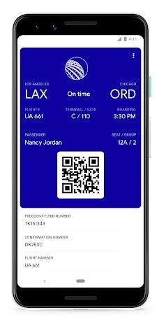 Google Assistant showing boarding pass