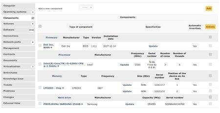 GLPI free asset tracking software dashboard view