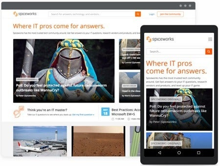 Spiceworks free IT asset tracking software shown on desktop and mobile