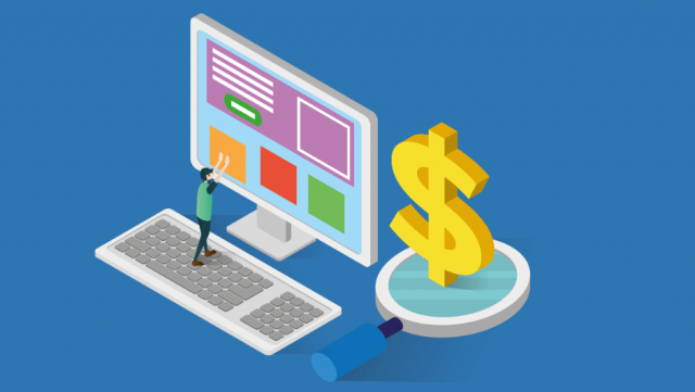 vector man large computer dollar sign best cheap website builder 2019