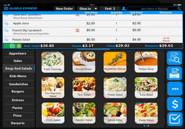 Aldelo POS menu and order mangement