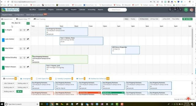 Service Fusion Dispatch: calendar
