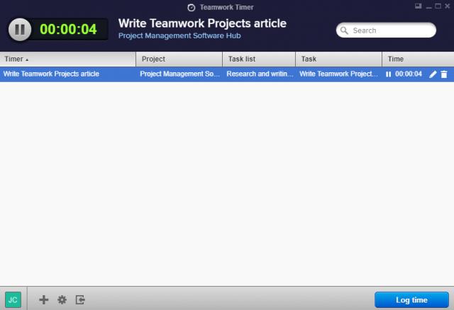 Teamwork Projects Desktop Timer