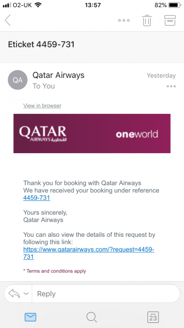 Fake Qatar Airways Email