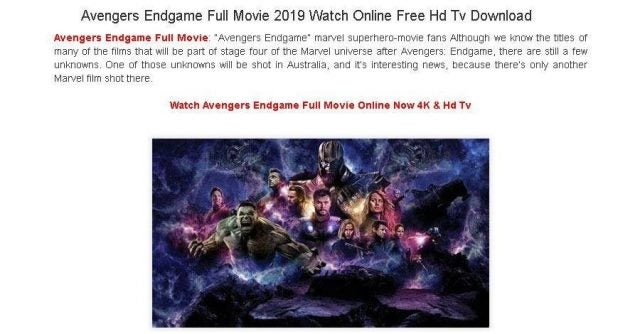 'Avengers: Endgame' download scam