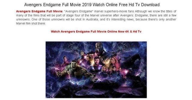 'Avengers: Endgame' download scam