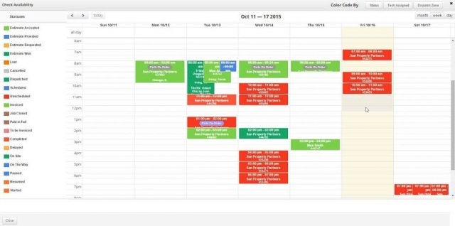 Service Fusion Calendar