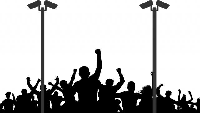 Surveillance cameras protestors