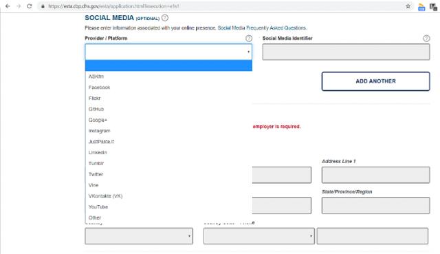 US visa application social media details
