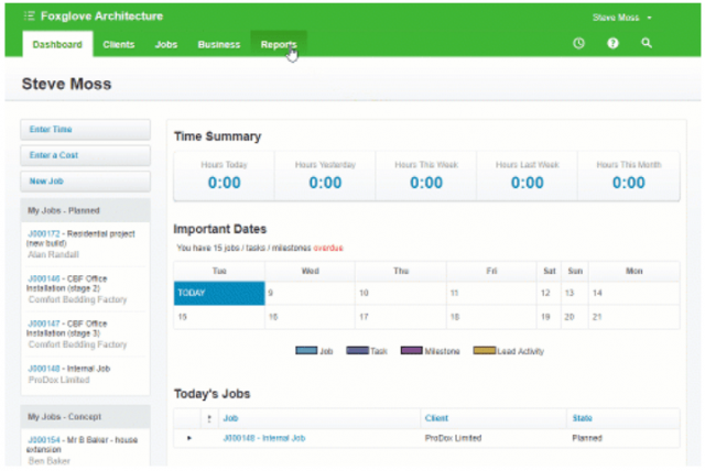 WorkflowMax project management software: Reporting feature