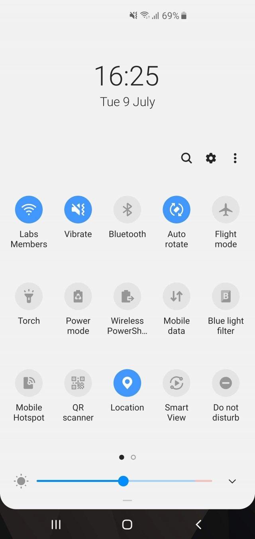 Samsung Galaxy S10 Plus quick settings