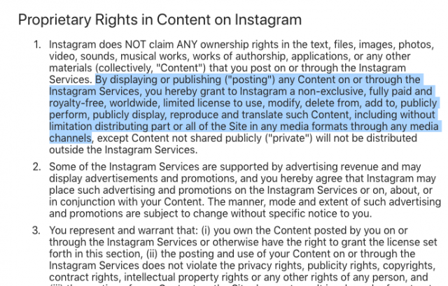 Instagram Terms of Service