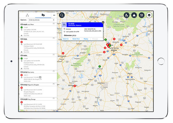 The Verizon Connect Reveal live map on an iPad