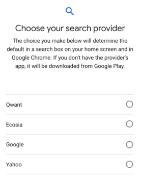 Android Google Search Engine Options