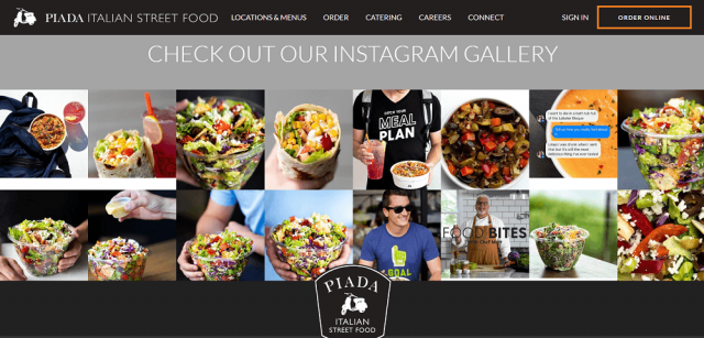 Piada restaurant website design