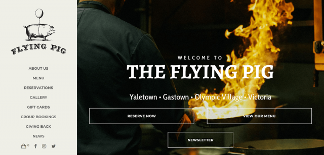 Flying Pig restaurant website design