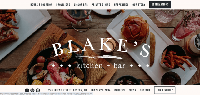 Blake's restaurant website design