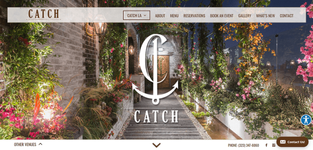 Catch restaurant website design