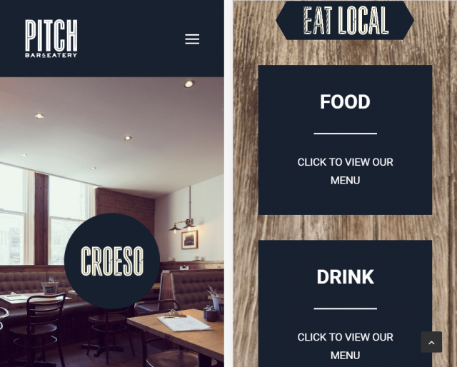 Pitch restaurant website on mobile