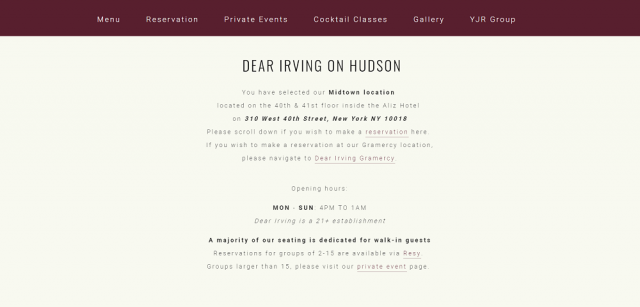 Dear Irving restaurant website design