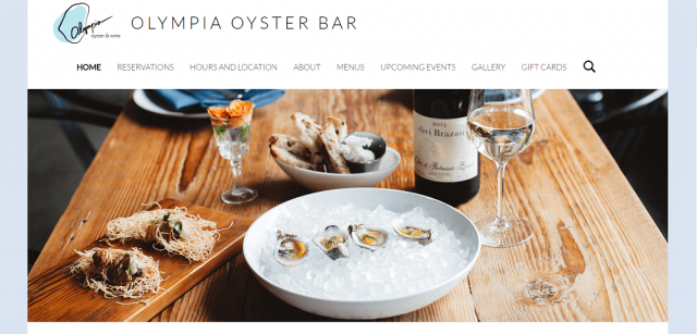 Olympia restaurant website design