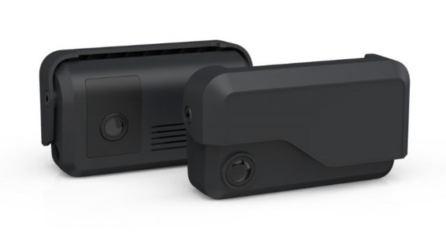 CM32 Dual-facing dash cam, front and back views