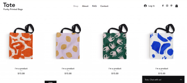 wix store with small product images