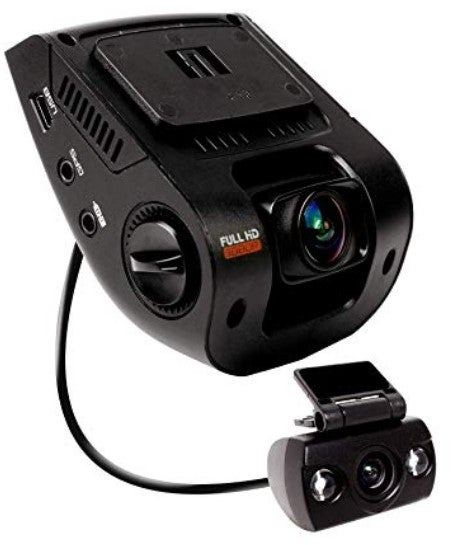 Side view of the Rexing V1P front and rear dash cam