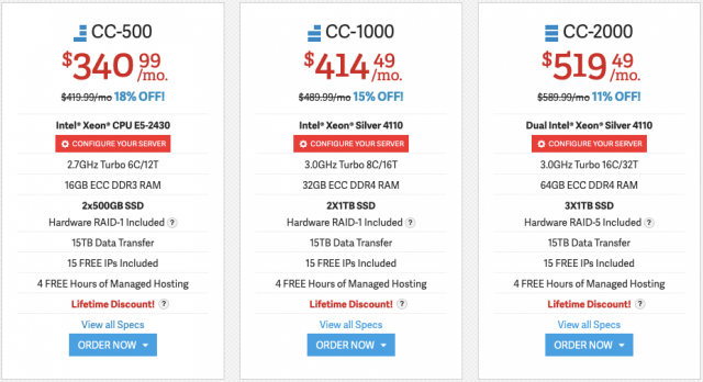 InMotion Dedicated Hosting Costs 2