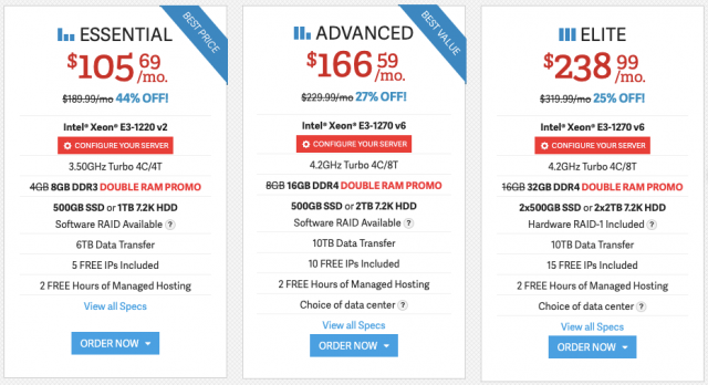 InMotion Dedicated Hosting Costs 1