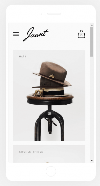 squarespace jaunt ecommerce template on iphone