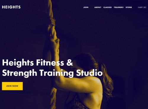 fitness studio website example homepage