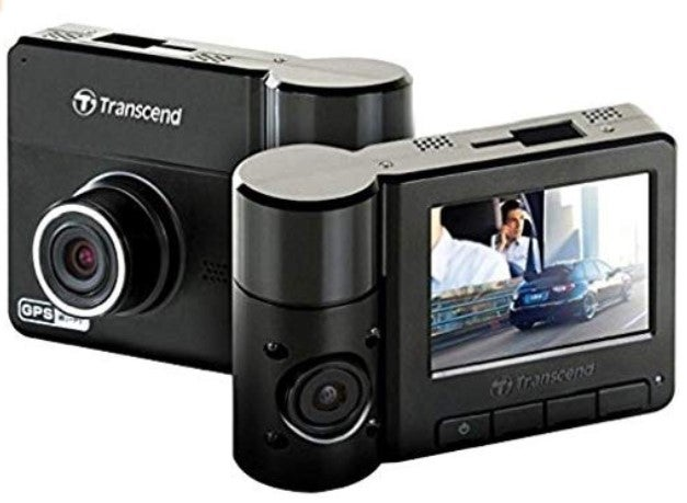 Transcend Pro 520 dual dash cam back and front view