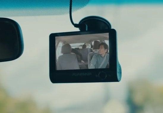 PureGear PureCam 520 dual dash cam on windshield