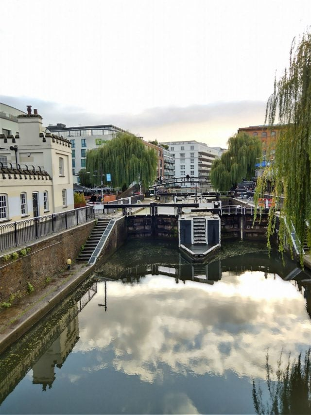 camden lock with clouds reflecting in water