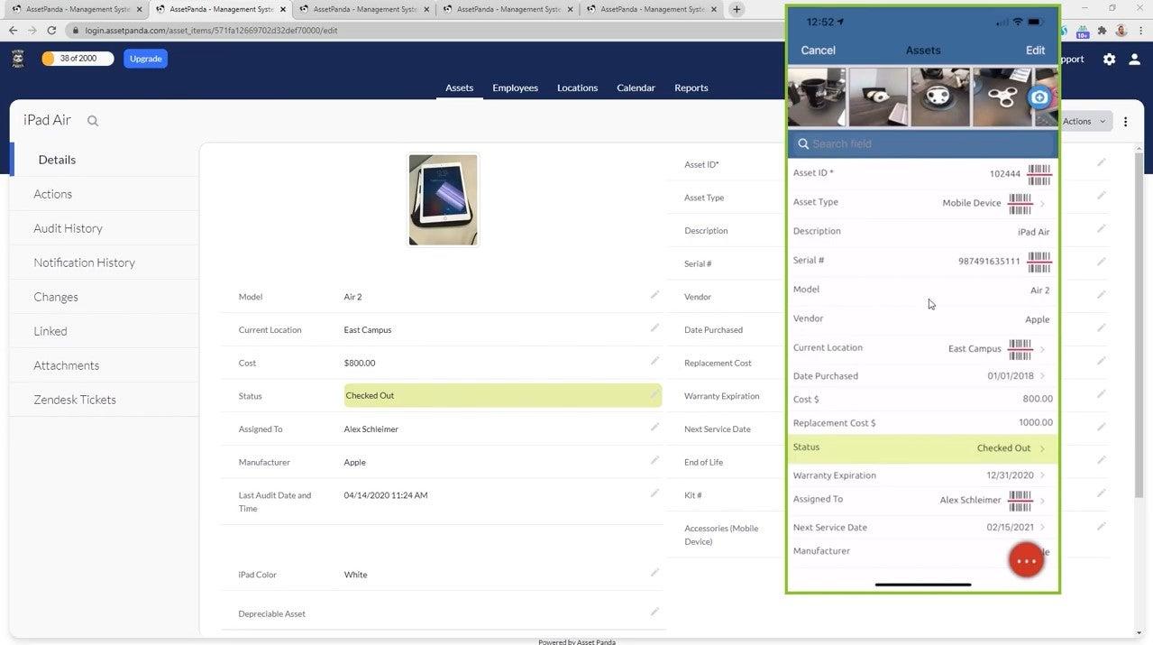 Asset Panda: An item, on both desktop and mobile
