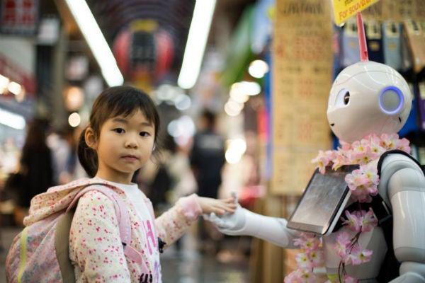 child robot holding hands