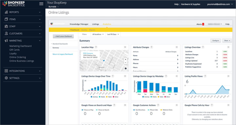 Shopkeep POS analytics dashboard