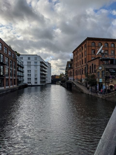camden canal and cloudy sky