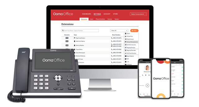 ooma office on desk phone mobile and desktop