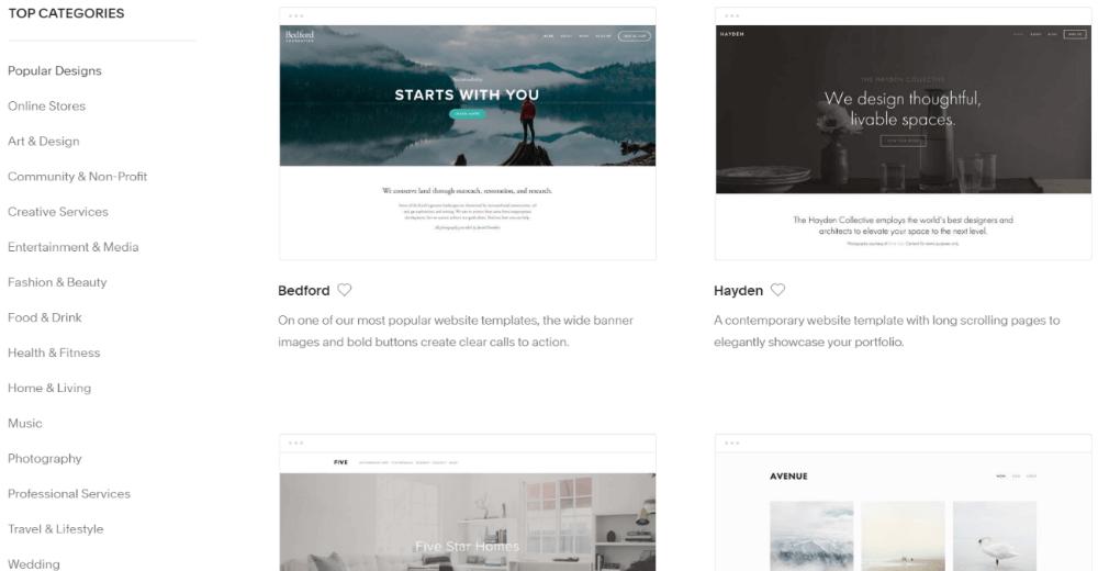 Squarespace website builder templates