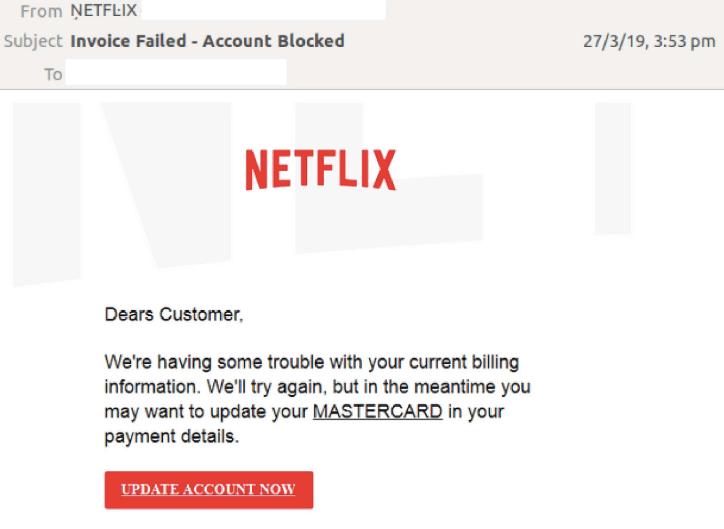 Netflix Email Phishing Scam