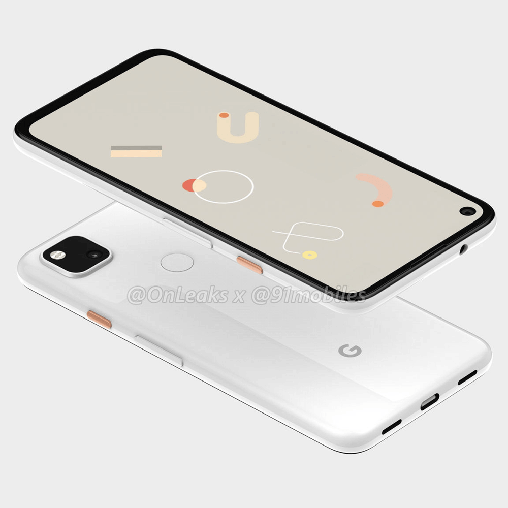 google pixel 4a render showing usb port and headphones jack