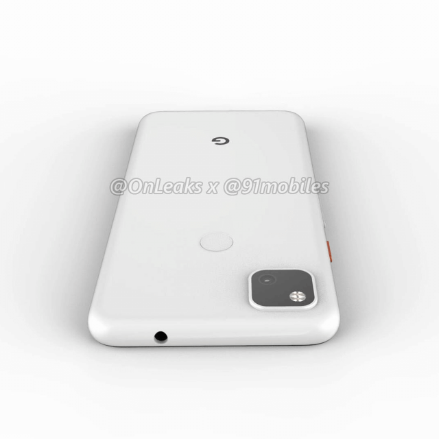 Google Pixel 4a render showing headphone jack and camera module