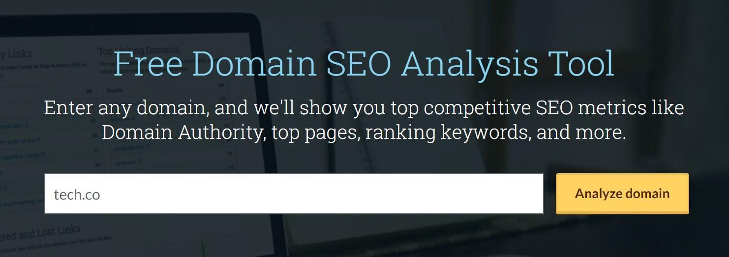 Moz Domain Authority tool
