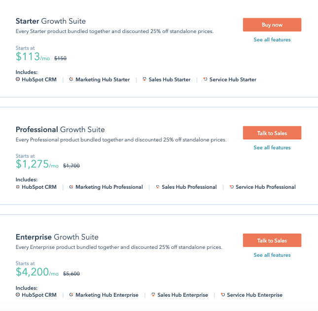 Hubspot Growth Suite Pricing