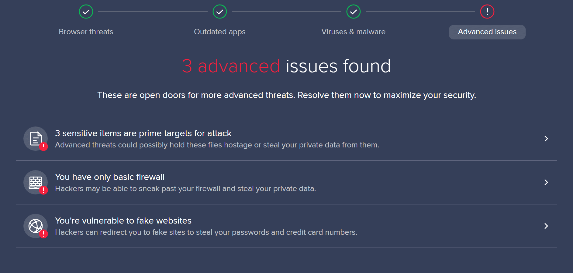 avast antivirus scan results
