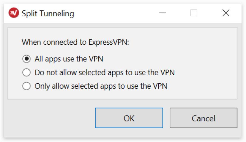 ExpressVPN: Split tunneling